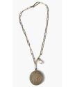 One single large coin with pearl chain necklace