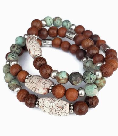 Beaded turquoise wood white stone aromatherapy stack bracelets