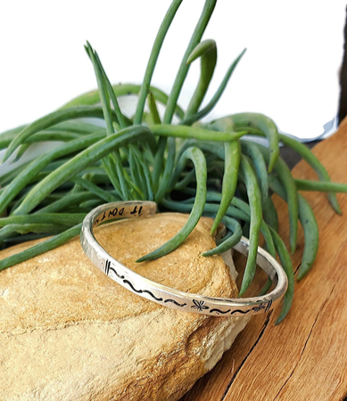 Personalized sterling silver forged graduation cuff