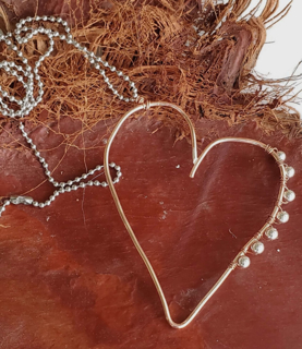 big whimsical copper open heart mixed metal chain necklace