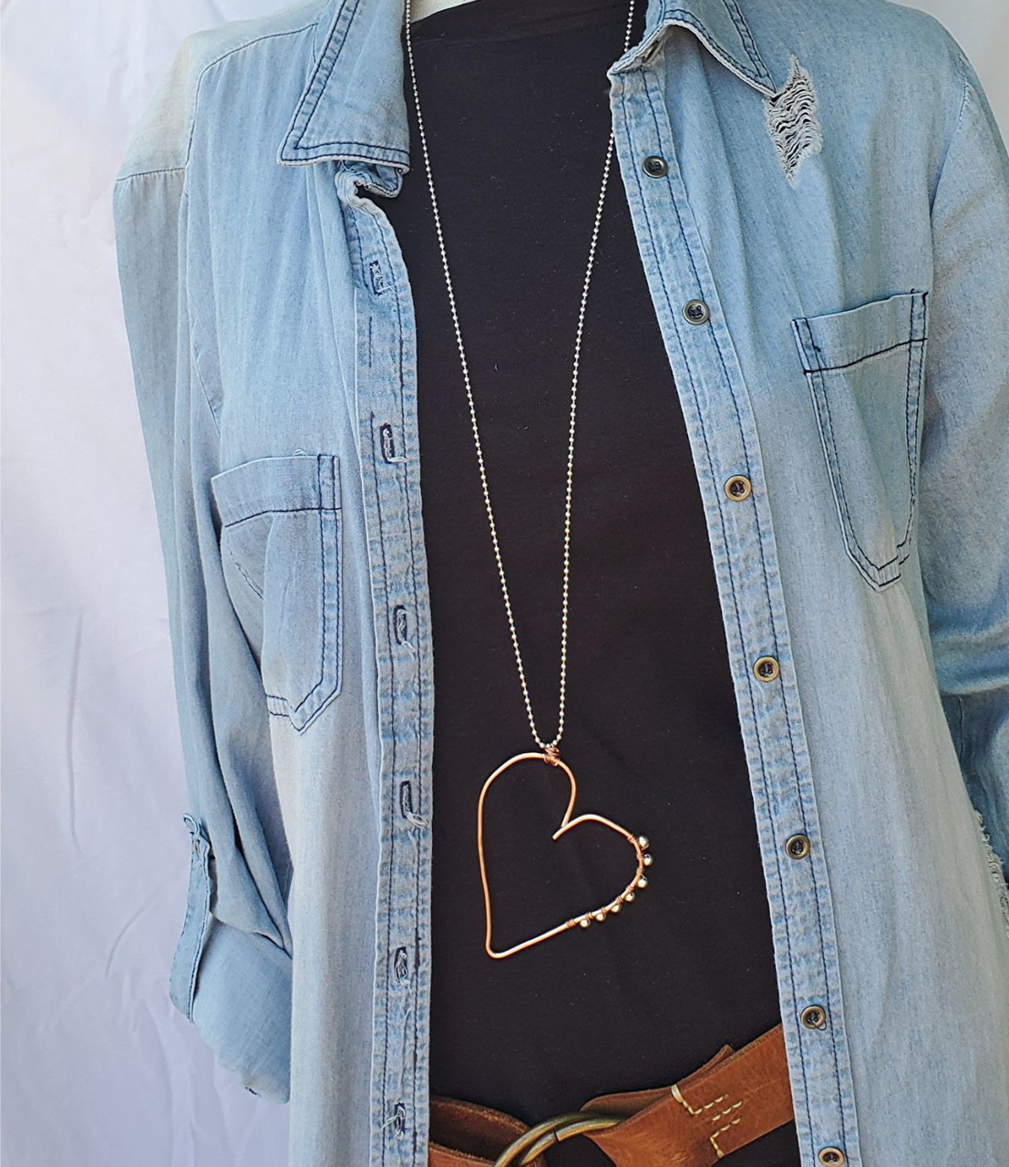 copper open heart long casual necklace with denim outfit