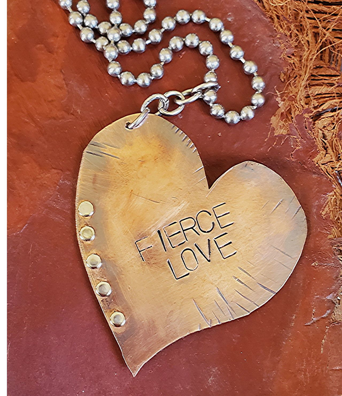 copper heart riveted & stamped with Fierce Love long casual necklace
