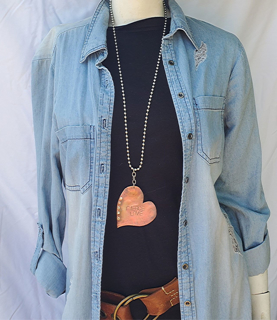 copper heart riveted & stamped with Fierce Love long casual necklace with denim outfit
