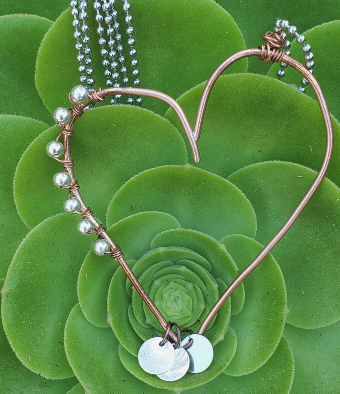 copper open heart sterling bead charm necklace in the garden