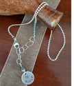 silver mixed chain crystal necklace