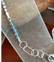 Blue Indian sapphire Swarovski crystals on chain necklace