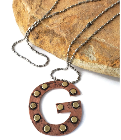 Long Letter G necklace riveted in mixed metal