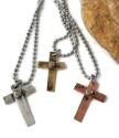 unisex/men's  mixed metal riveted cross necklaces