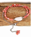 Pretty pink gemstone wrap bracelet & necklace on wood