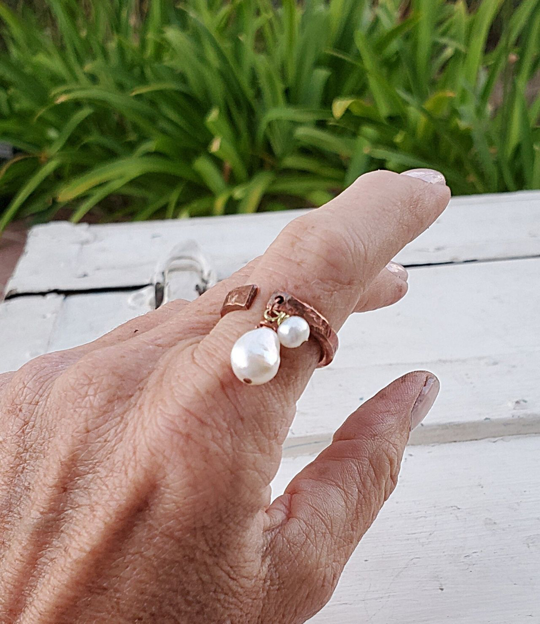 Wearing White freshwater pearl copper cuff ring