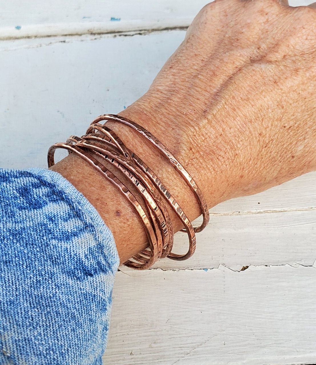 wearing  copper cuff stack with denim shirt