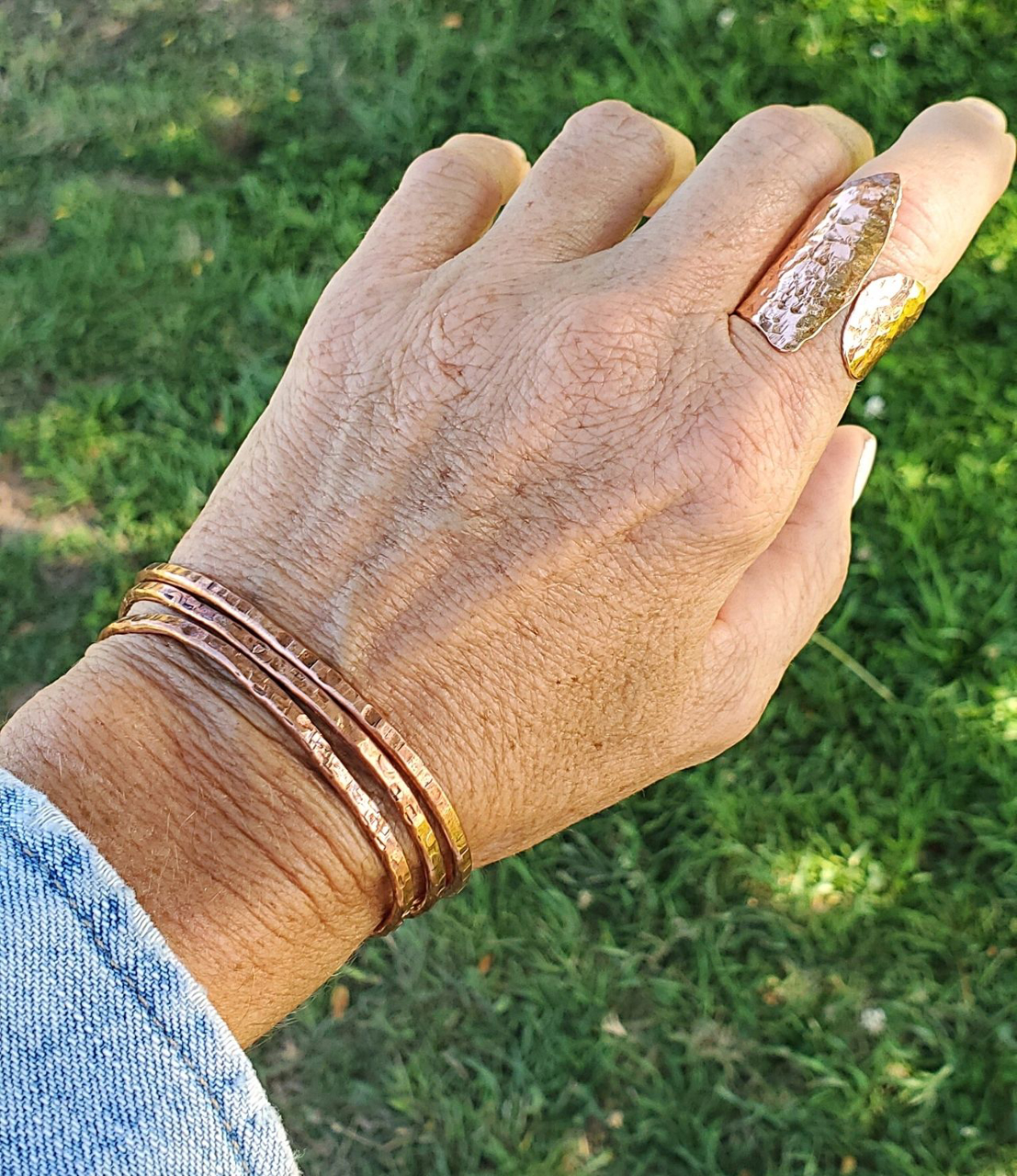 casual copper cuff stack with hammered copper ring