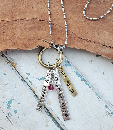 Custom charm necklace for weight lifter on white distressed wood