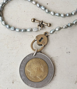 1982 Italian Light Blue Pearl Coin Necklace