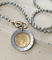 blue pearl necklace with silver/gold italian coin