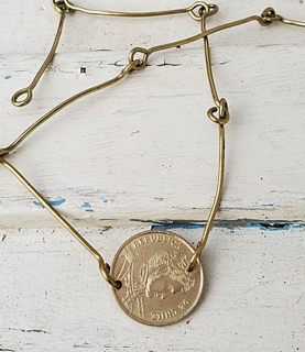 Delicate coin necklace with hand forged bars