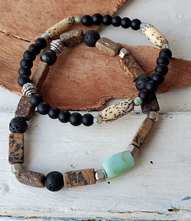 blue brown black beaded men's bracelet stack on wood