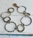 Big textured circles mixed metal bracelet
