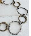 Mixed metal Big textured circles bracelet