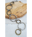 Mixed metal Big textured circles bracelet on stone