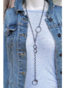 Chunky chain long necklace with a blue jean jacket