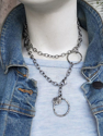Chunky silver chain double wrap necklace with blue jean jacket