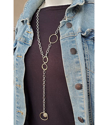 Long chunky chain mixed metal statement necklace with jean jacket