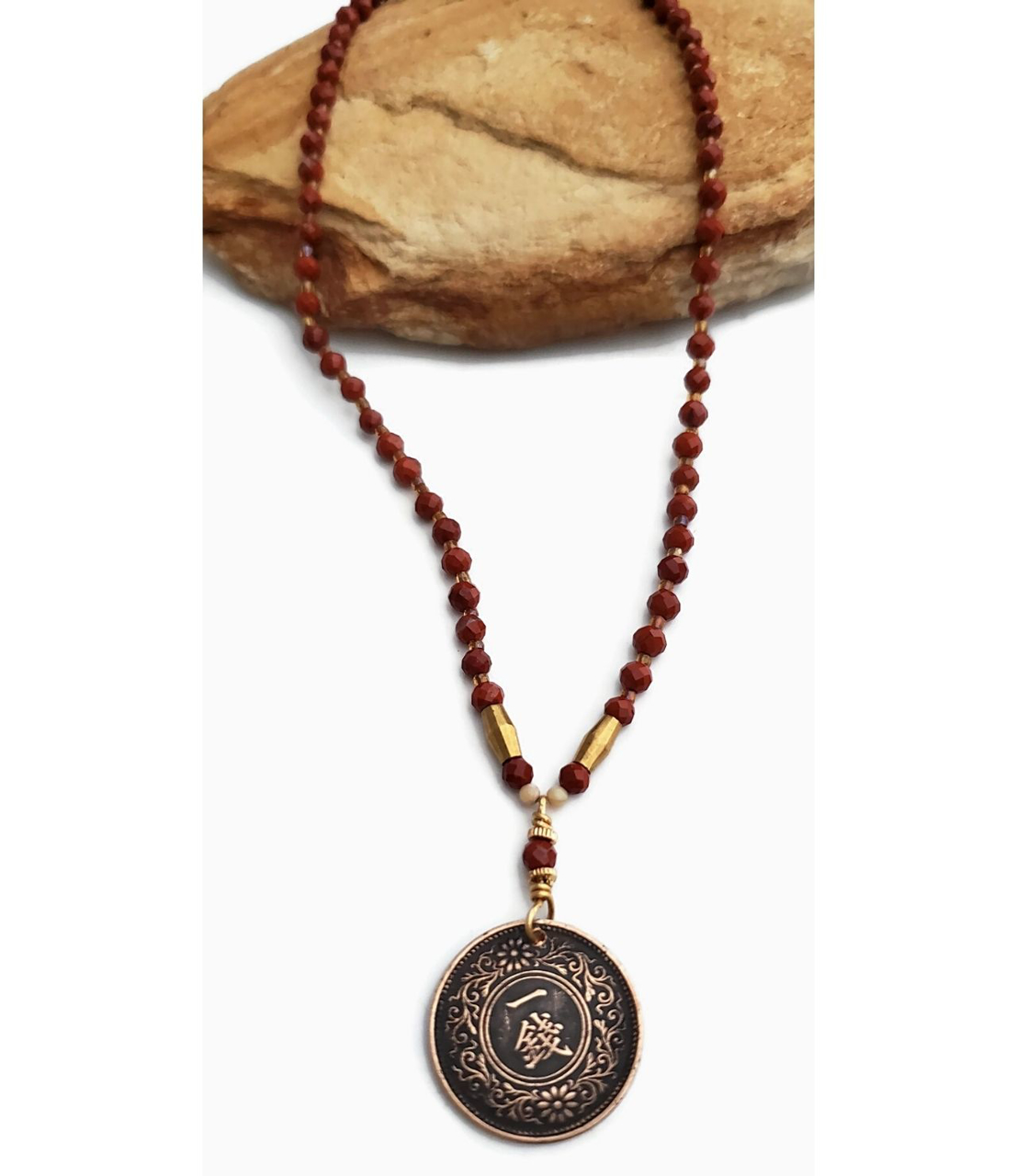 full view red gemstone  coin necklace