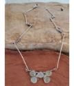 Artsy Silver stick mint green gemstone artisan necklace on wood