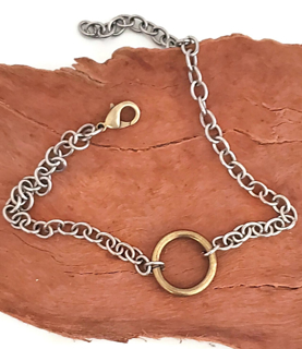 Brass ring chunky chain necklace on wood