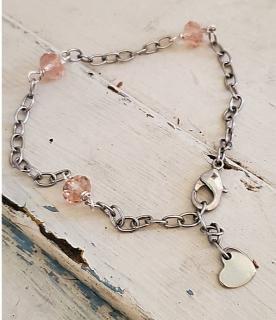 Pink Crystal Heart Anklet