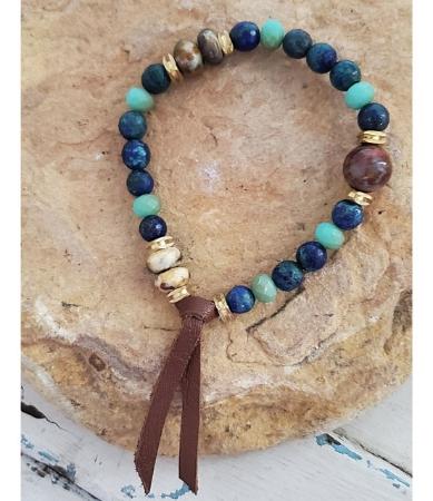 Blue tan gemstone bracelet on rock men's unisex