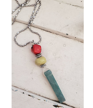 red green turquoise stone stick necklace with long silver chain