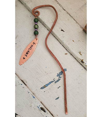 Unique copper metal beaded bookmark with name tag