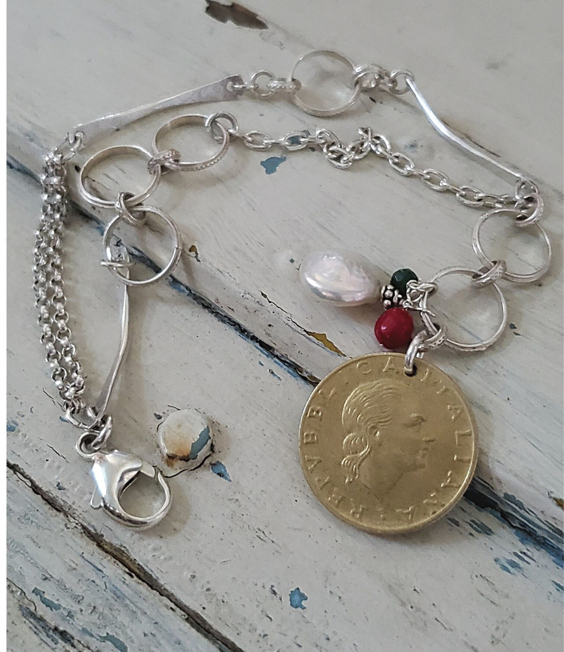 Cool Italian coin bracelet with mixed silver chai