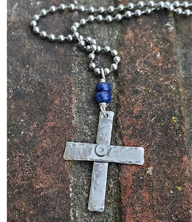 blue gemstone hammered silver cross necklace