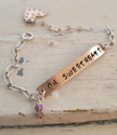Silver chain 'Oh Sweetheart' Bar heart bracelet