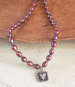 Purple pink pearl silver square framed heart necklace