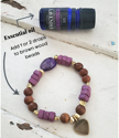 how to use essential oil on purple gemstone heart aromatherapy bracelet