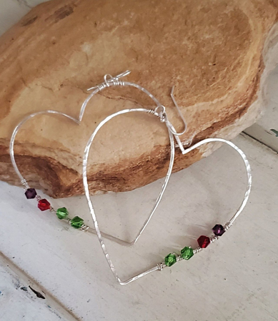 Heart earrings with birthstones on rock