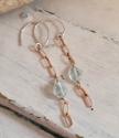 blue gemstone chain drop earrings om white trunk