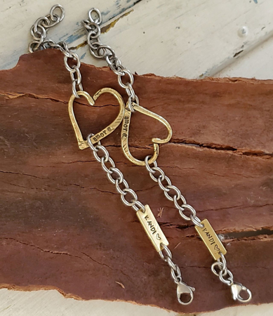 open heart chunky chain remembrance bracelets on wood