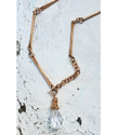 Swarovski crystal bar link necklace on distressed white