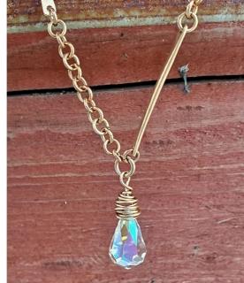 hand forged bronze bar Swarovski crystal pendant necklace