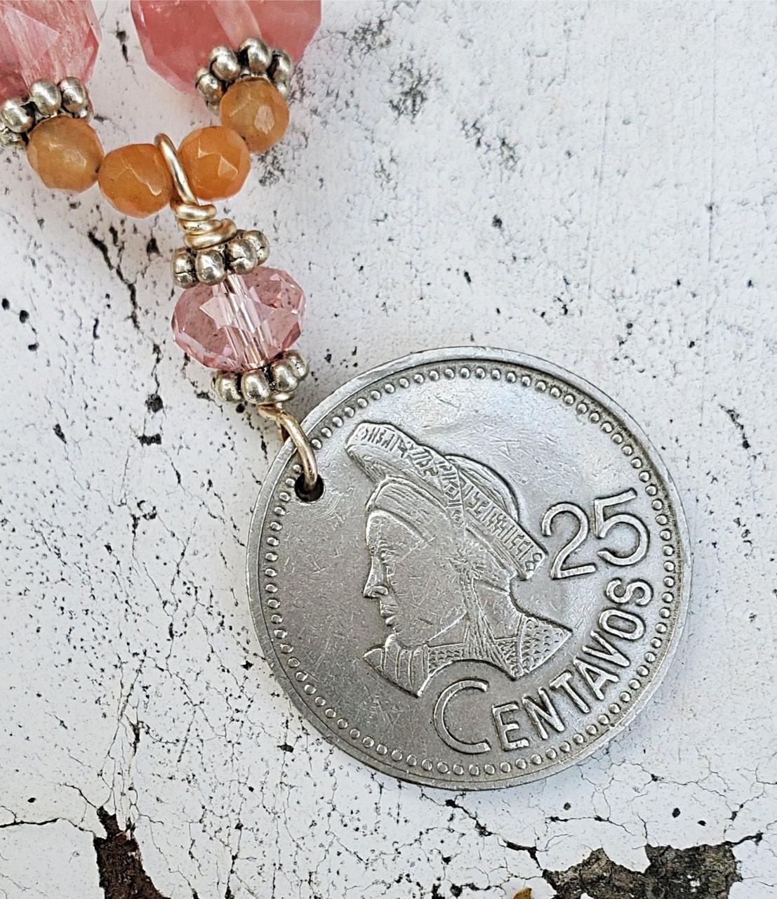 Guatemalan silver 25 centavos coin necklace