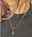 model wearing bronze bar chain Swarovski crystal necklace