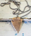 unisex-hammered-bronze-arrowhead-silver-chain-necklace