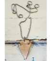 full-length-unisex-hammered-bronze-arrowhead-silver-chain-necklace