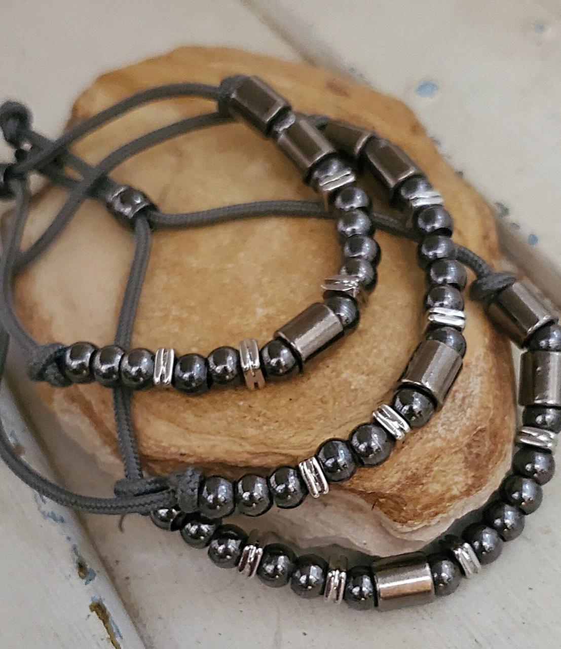 Beaded Morse code bracelet stack
