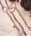 3 heart name tag  bracelets on distress white wood